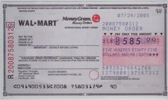 Fill Out A Money Order Walmart